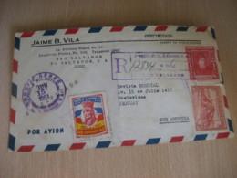 SAN SALVADOR 1951 To Montevideo Uruguay 3 Stamp On Registered Air Mail Cancel Cover EL SALVADOR - El Salvador