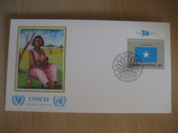 NEW YORK 1983 UNICEF Flag Stamps A. M. Sheekh Painting FDC Cancel Cover SOMALIA United Nations USA - Somalie (1960-...)
