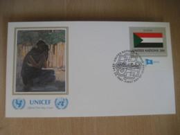 NEW YORK 1981 UNICEF Flag Stamps Ahmed El Arabi Painting FDC Cancel Cover SUDAN United Nations USA - Soudan (1954-...)
