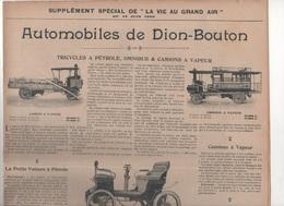 1899 PUBLICITE AUTOMOBILES DE DION-BOUTON / GEORGES RICHARD / AUTOMOBILES DE DIETRICH & CIE LUNEVILLE / - Publicidad