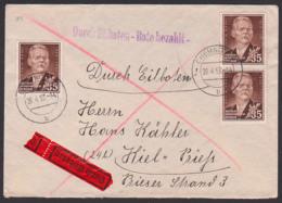 Maxim Gorki Russischer Schriftsteller 45 Pfg.Eilboten-Brief, DDR 354(3) Nach Kiel 26.4.53 - [6] Oost-Duitsland