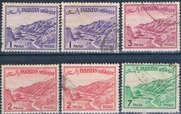 Pakistan 1961  -  Michel  135 ( I + II ) + 137 ( I + II ) + 138 + 140  ( Usados ) - Pakistán