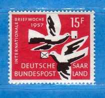 (Mn1) SAAR LAND **- 1957 - Semaine De La Lettre. Yvert. 390. MNH   Vedi Descrizione - 1957-59 Federazione