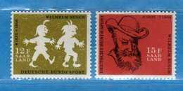 (Mn1) SAAR LAND **- 1958 - Wilhelm BUSCH. Yvert. 411-412. MNH   Vedi Descrizione - 1957-59 Federazione