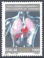 Italia, 2000 Congr. Società Dei Trapianti, 800L # Sassone 2494 - Michel 2715 - Scott 2362  USATO - 6. 1946-.. Republik
