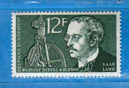 (Mn1) SAAR LAND **- 1958 - RUDOLF DIESEL. Yvert. 414. MNH   Vedi Descrizione - 1957-59 Federazione