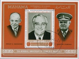 Manama 1970 Bf. 92A D.D. Eisenhower - F.D. Roosevelt - W. Churchill Sheet  Perf. CTO - Sir Winston Churchill