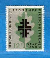 (Mn1) SAAR LAND **- 1958 - GYMNASTIQUE. Yvert. 419. MNH   Vedi Descrizione - 1957-59 Federazione