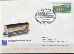 Postal History: Germany Postal Stationery Cover, London-Hannover - Trains