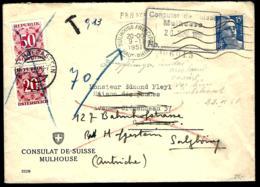 LETTRE EN PROVENANCE DE MULHOUSE  - 1951 - CONSULAT DE SUISSE - TAXE POUR L'AUTRICHE - - Storia Postale