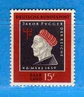 (Mn1) SAAR LAND **- 1959 - J.FUGGER. Yvert. 427. MNH   Vedi Descrizione - 1957-59 Federazione