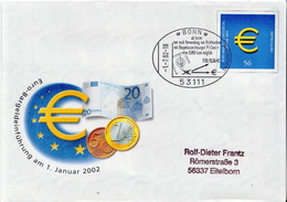 Postal History: Germany Postal Stationery Cover, Euro, Bonn Cancel - Coins
