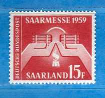 (Mn1) SAAR LAND **- 1959 - FOIRE De SARRE. Yvert. 429. MNH   Vedi Descrizione - 1957-59 Federazione