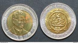 Thailand Coin 10 Baht Bi Metal 2002 60th Internal Trade Department Y382 UNC - Thailand