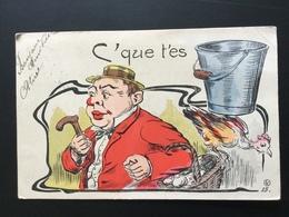 CPA Dessin Rébus C'que T'es Sot 1904 - Humour
