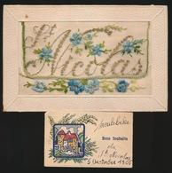 BORDUUR -  CARTE BRODÉE  - ST.NICOLAS - MEULEBEKE 5 DEC 1905 - Meulebeke
