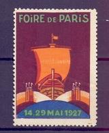 CINDERELLA  ERINOFILO International Exposition FOIRE PARIS 1927   (GIUGN1900B103) - Erinnofilia