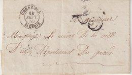 """FRANCE : ALGERIE : MARQUE POSTALE . CAD T15 . """" CHERCHEL """" . TAXE A 25 A UZES . 1850 . - Marcophilie (Lettres)"""