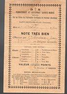 Saint Denis De Piles  (33 Gironde)  Bulletin école SAINTE MARIE 1900 Ou 1901 (PPP18645) - Diploma & School Reports