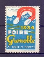 CINDERELLA  ERINOFILO International Exposition FOIRE GRENOBLE  1934   (GIUGN1900B103) - Erinnofilia