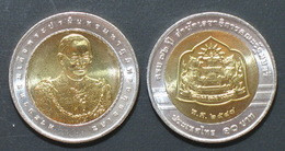 Thailand Coin 10 Baht Bi Metal 2005  2nd Secretarial Office Prime Minister Y428 UNC - Thailand