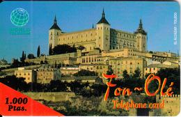 SPAIN - El Alcazar/Toledo, Fon Ole By World Telecom Prepaid Card 1000 Ptas, Exp.date 31/07/99, Used - Landschappen
