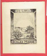 EX LIBRIS DENISE HANSE 20 MAI 1945 GRAVURE EAU FORTE SUR VELIN BOOKPLATE - Bookplates
