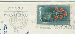 STAMP POSTED BY TEL AVIV- STAMP £ .110, ON TRAVELED POSTCARD 1953, HABIMA THEATER, - Israele