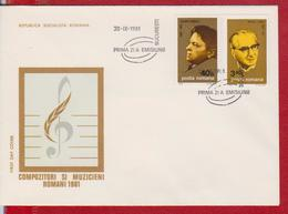 MUSIC GEORGE ENESCU AND MIHAIL JORA COMPOSER ROMANIA FDC - Música