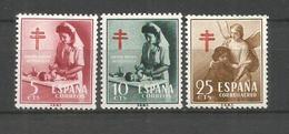 ESPAÑA PRO TUBERCULOSOS YVERT NUM. 1121/1123 ** SERIE COMPLETA SIN FIJASELLOS - 1951-60 Nuevos & Fijasellos