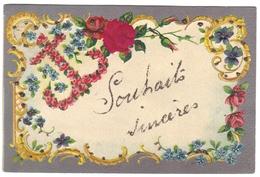Carte Fantaisie Relief Gaufrée Embossed Cpa Fleur Fleurs Ancre - Fantaisies