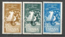 ESPAÑA CENTENARIO DEL TELEGRAFO EDIFIL NUM. 1180/1182 ** SERIE COMPLETA SIN FIJASELLOS - 1951-60 Nuevos & Fijasellos