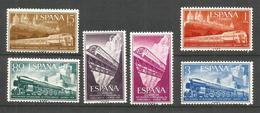 ESPAÑA CONGRESO INTERNACIONAL FERROCARRILES EDIFIL NUM. 1232/1237 ** SERIE COMPLETA SIN FIJASELLOS - 1951-60 Nuevos & Fijasellos