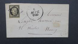 Lettre De Charmes Vosges 6 Septembre 1849 Ceres N° 3 Obl. Grille Cachet Type 13 - Marcophilie (Lettres)