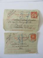 France - Entiers Postaux - 2 Cartes Pneumatiques (façades) Chaplain 2F Et Pétain 3f Circulée Vers 1941 - 1877-1920: Période Semi Moderne