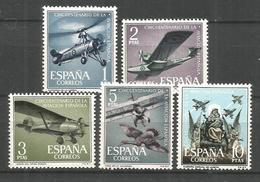 ESPAÑA NUM. 1401/5 AVIACION ** SERIE COMPLETA SIN FIJASELLOS - 1961-70 Nuevos & Fijasellos
