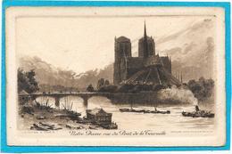 PARIS - Gravure PINET - Carte Postale NOTRE DAME DE PARIS Vue Du Pont De La Tournelle - Notre Dame De Paris