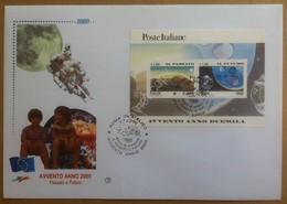 FDC Italia 2000 - Passato E Futuro - Foglietto Avvento Anno 2000 - Francobolli