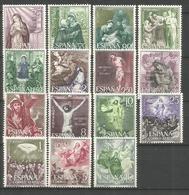 ESPAÑA MISTERIOS DEL SANTO ROSARIO EDIFIL  NUM. 1463/1477 ** SERIE COMPLETA SIN FIJASELLOS - 1961-70 Nuevos & Fijasellos
