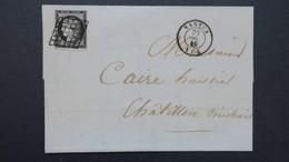 Lettre De Nantua Ain Dec. 1849 Ceres N° 3 Obl Grille Cachet Type 15 Pour Chatillon En Michaille - 1849-1876: Période Classique