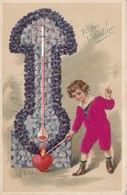 VALENTINE'S DAY, PU-1910; Child Lighting Red Heart At Bottom Of Violet Flower Thermometer - Saint-Valentin