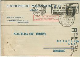 """MARANGONI SUGHERIFICIO-MILANO,C.P. COMMERCIALE,1938,TIMBRO POSTE MILANO TARGHETTA"""" P.N.F.,I MOSTRA DEL DOPOLAVORO....... - Commercio"""