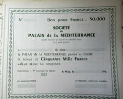 Un Bon Société Du Palais De La Méditerranée NICE 1964 - Casino