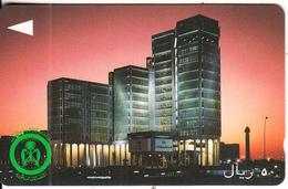 SAUDI ARABIA(GPT) - PTT Building At Night, CN : SAUDF/B, Used - Landschappen