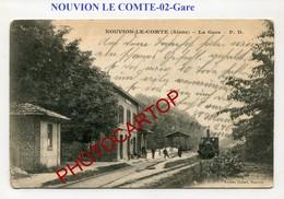 Gare-NOUVION LE COMTE-train-Locomotive-Periode GUERRE 14-18-1WK-France-02- - Frankrijk
