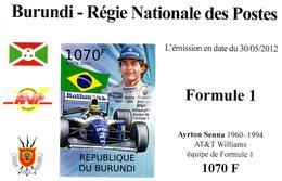 Burundi 2012 - Régie Nationale Des Postes - Formule 1 - AYRTON SENNA  - Williams  - 1v MS  IMPERF Neuf/MNH - Automobile