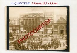 SAINT QUENTIN-Concert-Defile-Musique-2x PHOTOS Allemandes-GUERRE 14-18-1WK-France-02- - Saint Quentin