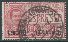 1922 LIBIA ESPRESSO USATO EFFIGIE SOPRASTAMPATO 60 SU 25 CENT - I61-4 - Libya