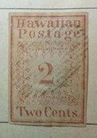 Sello Usado Hawaii  Serie Misioneros 2CTS. Color Naranja. Muy Rara Variante De 1860 Del Original Azul De 1851. - Hawaii