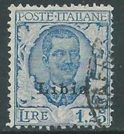 1928-29 LIBIA USATO FLOREALE 1,25 LIRE - I60-5 - Libya